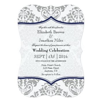 Navy Blue Gray Damask Bracket Wedding Invite