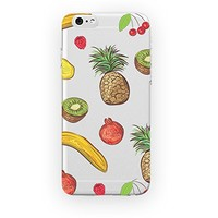 MFVN iPhone 4/iPhone 4S Protective Case-Watermelon, Banana And Pineapple Freshener Pattern Case-Fruits In Season Picture-Hard Plastic Clear Case Silicone Skin Cover