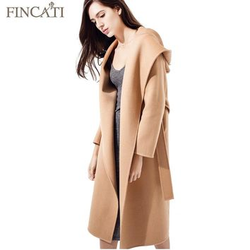 Women Coat 2018 High-End Autumn Winter 100% Wool Hooded Soft Long Jacket Outwear Clothing Casaco Feminino