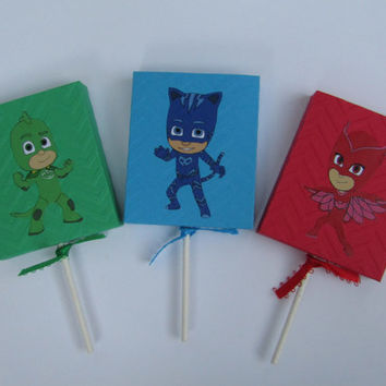 12 Lollipop PJ Mask Party Favor Cover - Candy Box - Snack Box - Treat Box - PJ Mask Boy/Girls Birthday Party Box - PJ Mask Classroom Favors