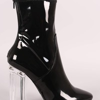 Liliana Clear Chunky Heeled Ankle Boots