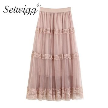 SETWIGG Korean Style Spring Sweet Tulle A-line Calf Long Pleated Skirts Tiered Lace Patchwork Stretch Waist Gauze Summer Skirts