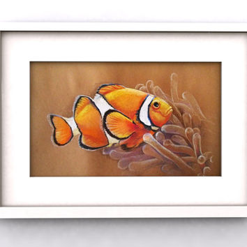 Оriginal Pastel Fish Picture Clown Fish Coral Fish Tropical Fish Caribian Fish Home decor Wall Decor Art