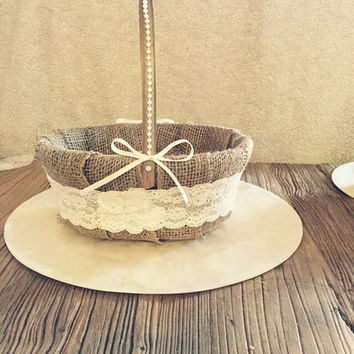 Flower girl basket/Rustic flower girl basket/burlap flower girl basket/beach flower girl basket/ lace flower girl basket/ shabby chic basket