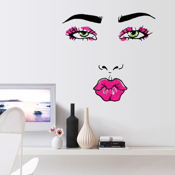 sexy girl lip eyes wall stickers living bedroom decoration diy adesivo de paredes home decals mual art poster home decor SM6