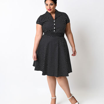 Plus Size 1950s Style Black & White Dot Button Up Flare Dress