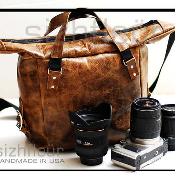 Custom Leather Laptop bag or Digital SLR Camera by sizzlestrapz