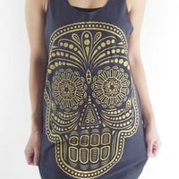 Skull Shirt --  Skull T-Shirt Day Of The Dead Art Gold Screen Print Shirt Women Tank Top Singlet Tunic Vest Sleeveless Black T-Shirt Size M