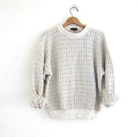 vintage off white sweater. chunky knit pullover sweater. oversizd boyfriend sweater /  size