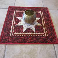 """Festive Table Topper """"Christmas Star"""" Quilted Table Decor, Red and Gold Holiday Tablemat, Quiltsy Handmade, Christmas Decor, Centerpiece"""