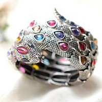 1pcs Unique design Rhinestone Snake Antique color Bangle Bracelet free shipping