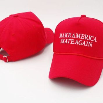 DCCKUNT Red Make Skate Again Embroidered Adjustable Cotton Baseball Golf Sports Cap Hat