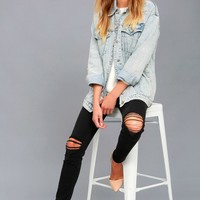 Hit Single Light Wash Pearl Denim Jacket