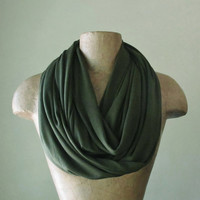DARK OLIVE GREEN Infinity Scarf - Lightweight Jersey Tube Scarf - Army Green Circle Scarf - Dark Green Eternity Scarf