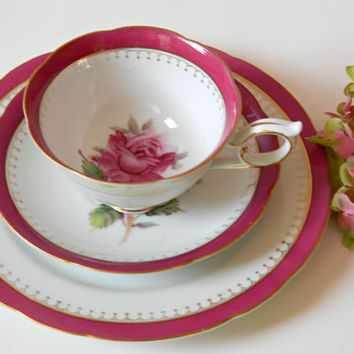 Vintage Nagase China Pink Roses Teacup, Saucer and Plate Set from Japan. Rare Pattern #NGA2. Replacement China. Tea Party Tableware.