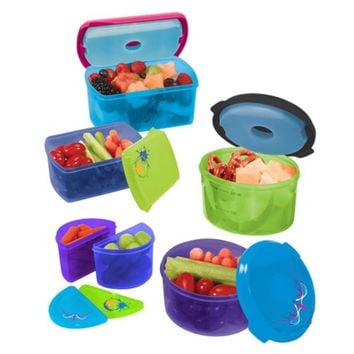 Kids Reusable Lunch Box Food Storage Containers W/ Removable Ice Packs 14 Pc Set