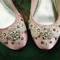 Pink Crystal Bridal Ballet Flat Wedding Shoes - Any Size - Pick your own shoe color and crystal color