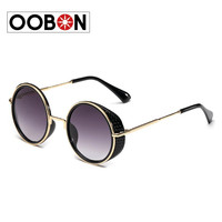 Oobon Special Offer Direct Selling Adult Mirror 2016 Vintage Gold Sunglasses Repair Big Circular Arrow Frame Metal Women Round