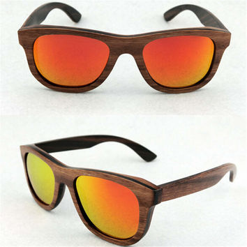 fashion casual handmade brown wood sunglasses + bamboo box gift 42