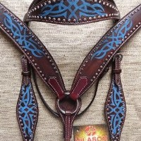 HILASON WESTERN LEATHER HORSE BRIDLE HEADSTALL BREAST COLLAR BROWN TURQUOISE