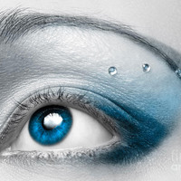 Blue Female Eye Macro With Artistic Make-up Photograph by Oleksiy Maksymenko - Blue Female Eye Macro With Artistic Make-up Fine Art Prints and Posters for Sale