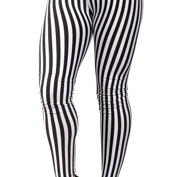 BadAssLeggings Women's Black And White Stripes Leggings Medium