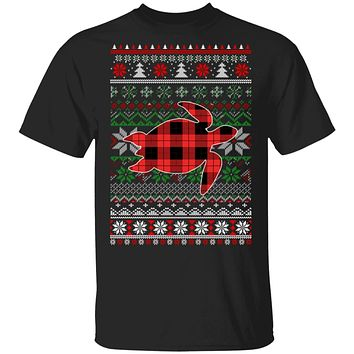Turtle Red Plaid Ugly Christmas Sweater Funny Gifts