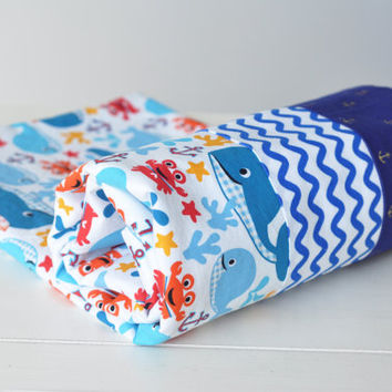 Baby whale ocean flannel blanket -  blue whale Blanket - Baby Flannel blanket - whale swaddle - Whale Crib Blanket - Baby Shower Gift