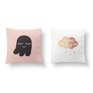SET of 2 Pillows, Ghost Pillow, Bed Pillow, Dream Big Little One, Gold Pillow, Children Room Decor, Throw Pillow, Cushion Cover, Nursery Art