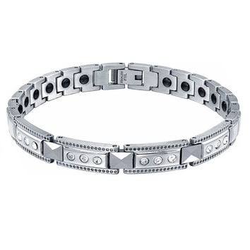 Stainless Steel W Ceramic, Cubic Zirconia and Hematite Magnetic Therapy Bracelet
