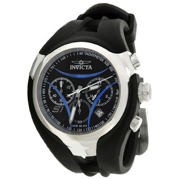 Invicta 1607 Men's S1 Rally Nitro Blue Accents Black Dial Rubber Strap Chronograph Watch