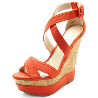 Charlotte Russe - Cross-Front Strappy Cork Wedge