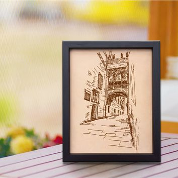Lik203 Leather Engraved Barcelona street Gothic Revival Wedding Third Anniversary gift