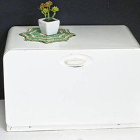 Vintage Ekco White Bread Box with Shelf, Metal Kitchen Storage Container Organizer, Made in Canada