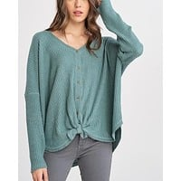 EVA - long sleeve thermal waffle knit v neck button down lightweight sweater -  pistachio
