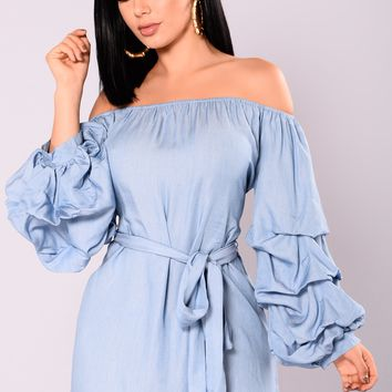 Anura Off The Shoulder Dress - Chambray