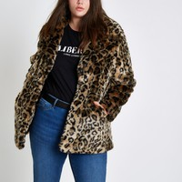 Plus leopard print faux fur coat - Coats - Coats & Jackets - women