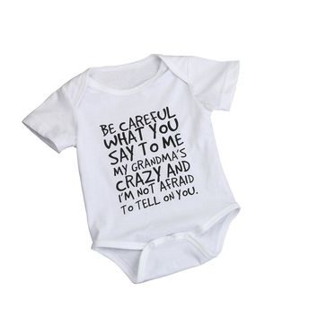 Be Careful What You Say To Me Funny Infant Baby Onesuit Bodysuit