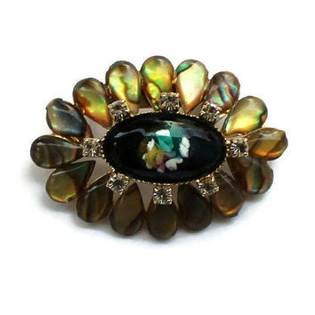 Flower Brooch Pin, Clear Rhinestone, Rainbow, And Black Enamel Set In Gold Tone