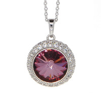 Dear Deer White Gold Plated Swarovski Elements Classic Red Round CZ Pave Pendant Necklace