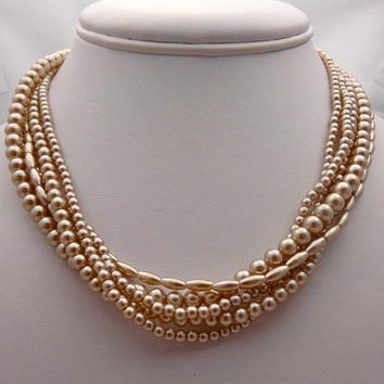 """Marvella """"5"""" Strand Vintage Pearl Vintage Necklace - Gift Idea - Mothers Gift Idea - Mothers Day - Mom - Mother"""