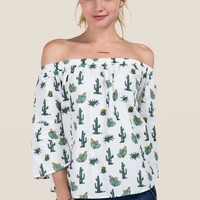 Cate Off The Shoulder Cactus Top