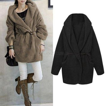 Women Loose Fluffy Fleece Fur Warm Coat Hoodies Sweater Poncho Cardigan Jumpers