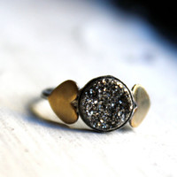 Black Drusy Ring with Brass Hearts by RachelPfefferDesigns on Etsy