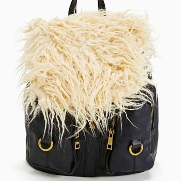 Nasty Gal Stevie Faux Shearling Mini Backpack