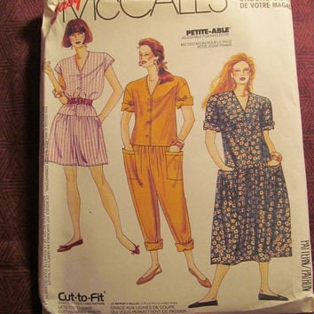 Sale Uncut 1991 McCall's sewing pattern, 0022! Petite-able/Jumpsuits/Jumper/Romper Dresses/Loose Fitting Casual Clothes/Sleeveless/Short Sle