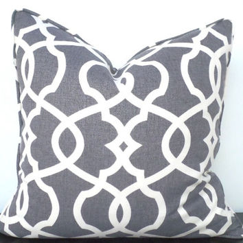 Grey trellis pillow cover 18x18, imperial trellis cushion cover, gray sofa cushion, decorative pillow piping, gray and cream couch pillow
