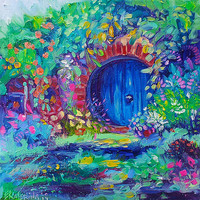 "The Hobbit House Hole Door Art -  Original OIL PAINTING On Canvas By Ekaterina Chernova - Size: 10"" x 10"""