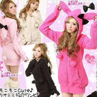 Women's Cute Bunny Ears Warm Sherpa Hoodie Jacket Coat tops Outerwear