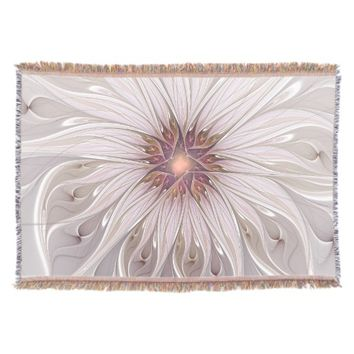 Floral Fantasy Abstract Fractal Art Throw Blanket